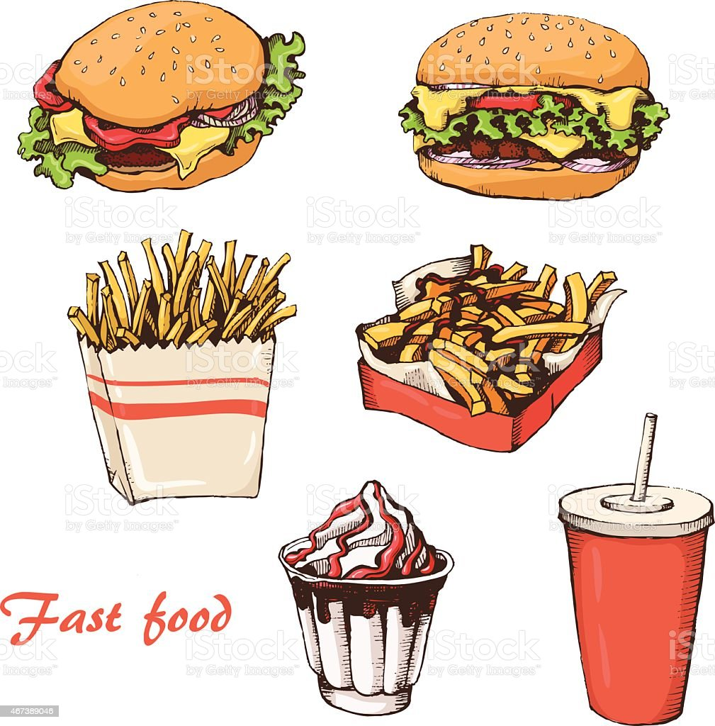 Fast food 7 vector art illustration