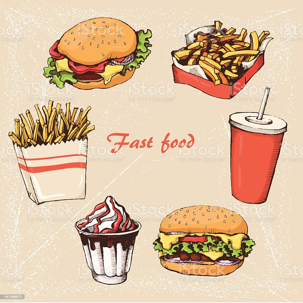 Fast food 8 vector art illustration