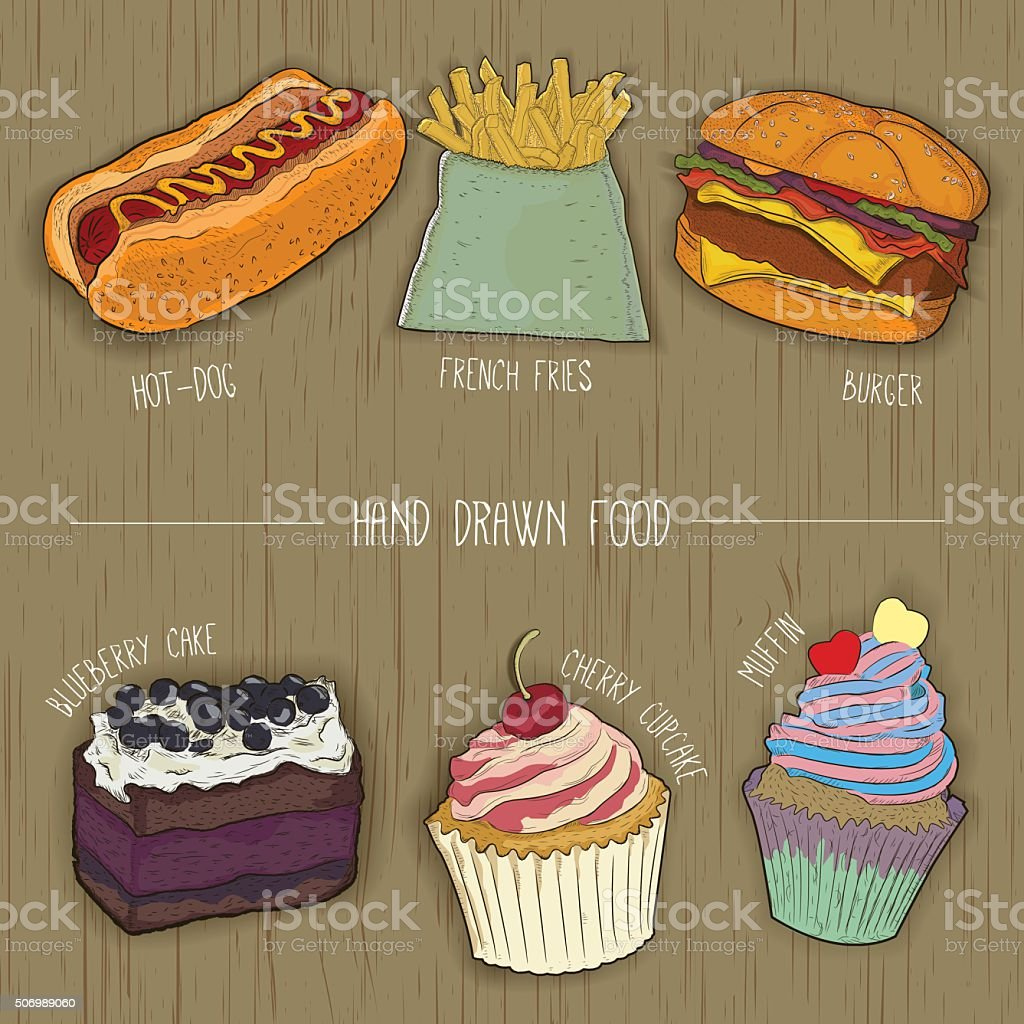 fast food and cakes icons for restaurant menu. royalty-free stock vector art