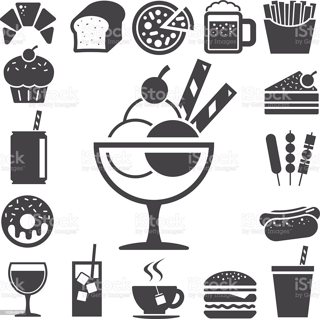 Fast food and dessert icon set. royalty-free stock vector art