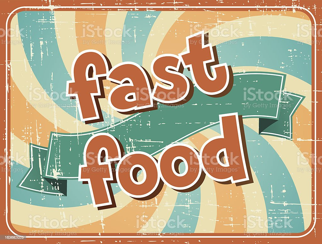 Fast food background in retro style. royalty-free stock vector art