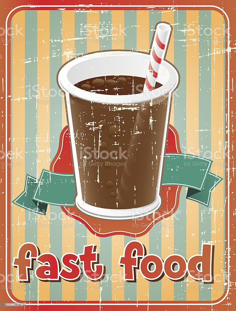 Fast food background with drink in retro style. royalty-free stock vector art