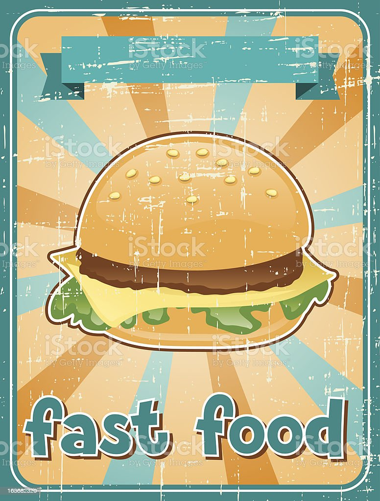 Fast food background with hamburger in retro style. royalty-free stock vector art