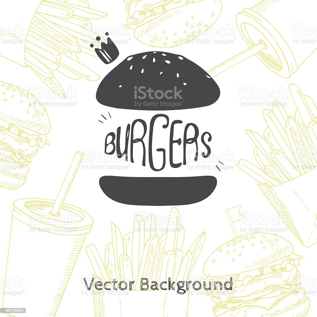 Fast food background with hand drawn burger vector art illustration