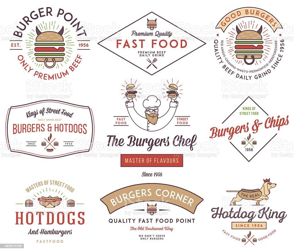Fast food badges and icons colored 3 vector art illustration