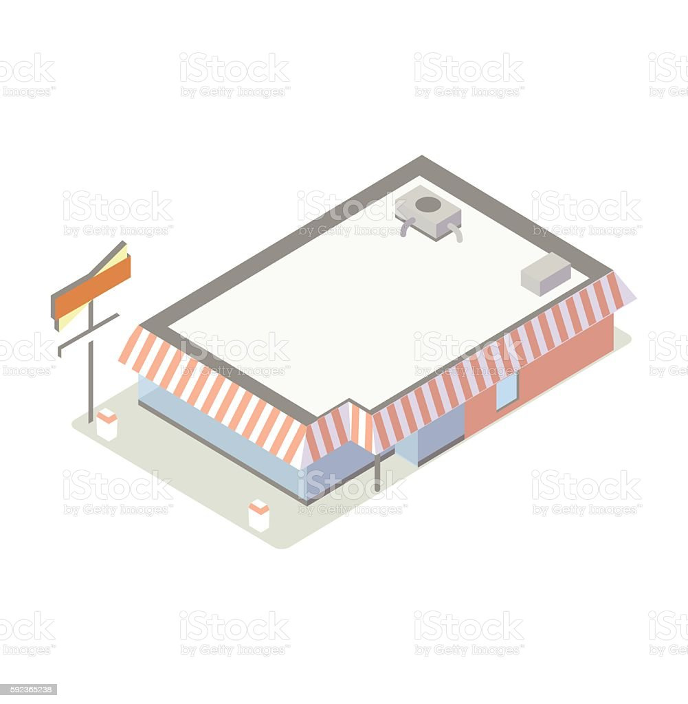 Fast food building illustration vector art illustration