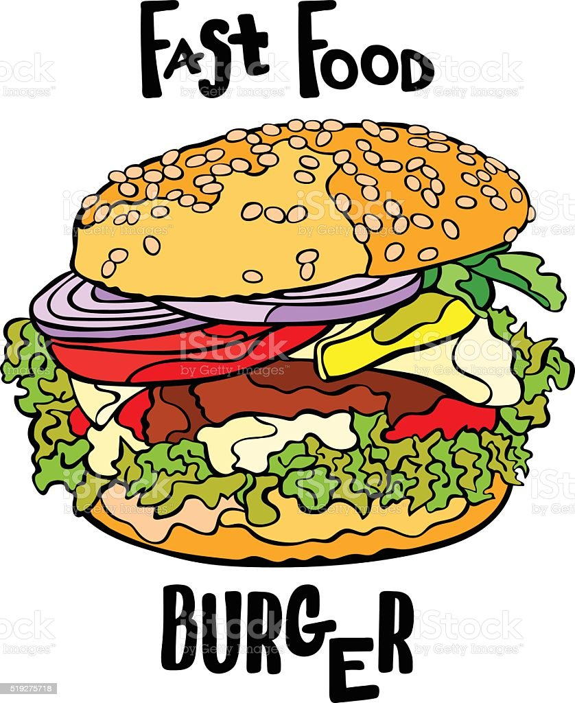 Fast food. Burger. Isolated object on white background. vector art illustration