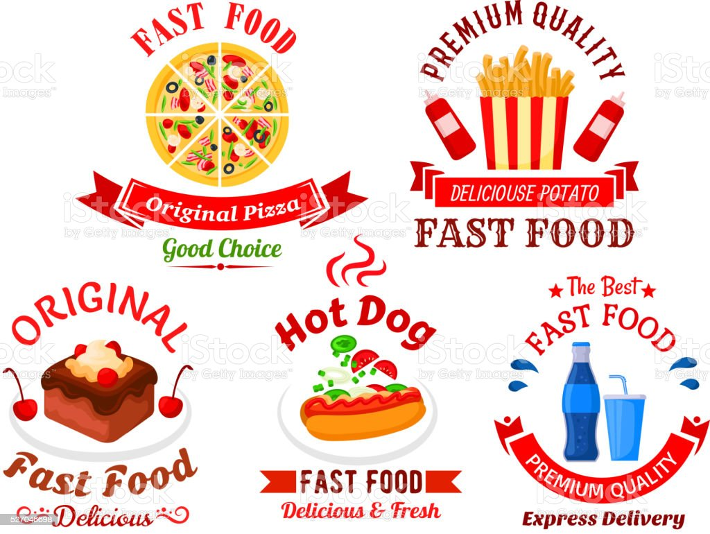 Fast food cafe and pizzeria cartoon icons vector art illustration