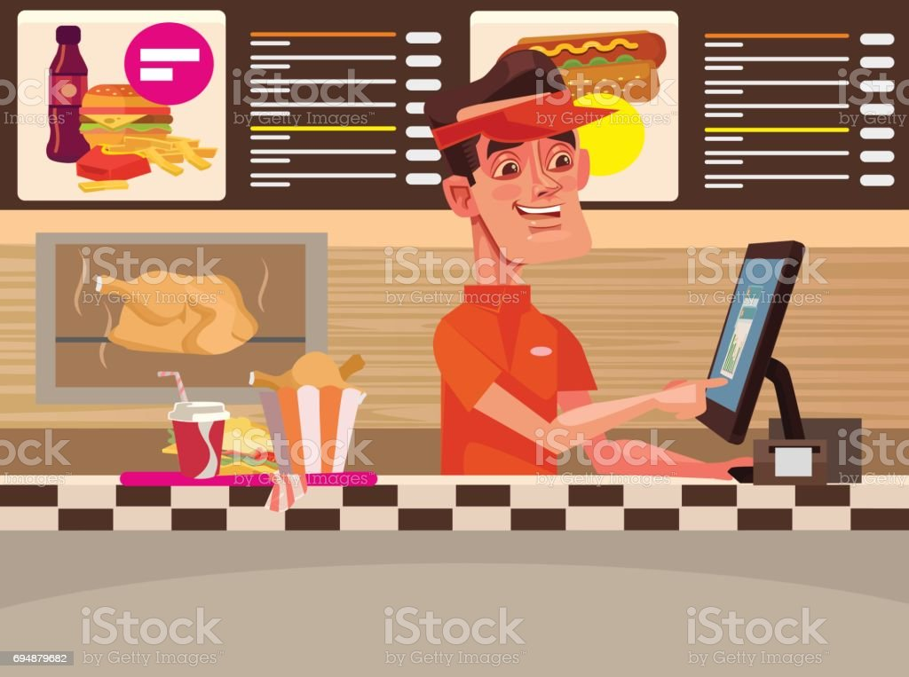Fast food cafe. Happy smiling cashier man character vector art illustration