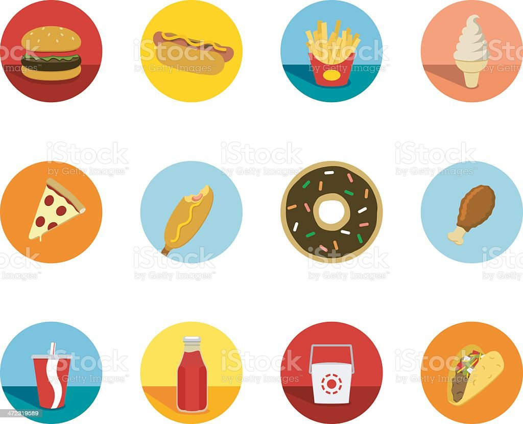 Fast Food Circle Icons vector art illustration
