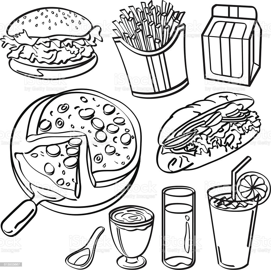 Fast food collection vector art illustration