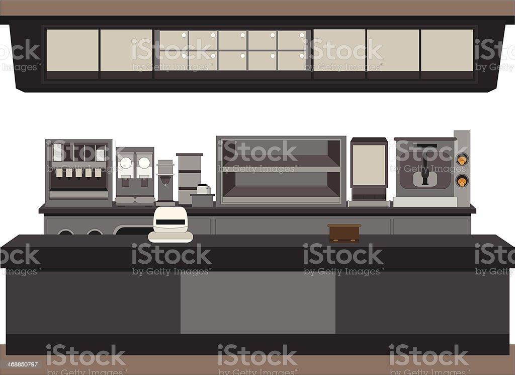 fast food counter vector art illustration