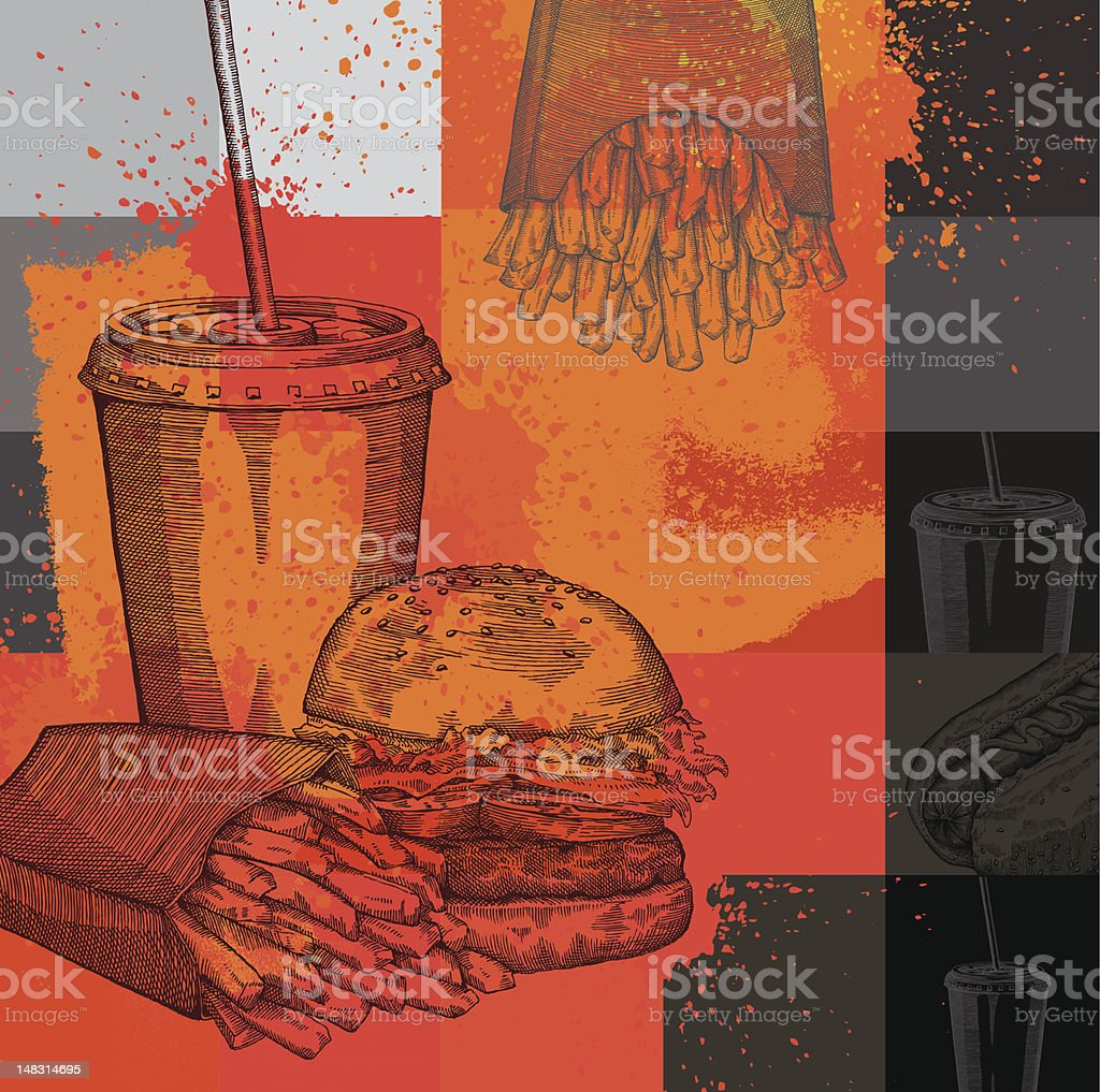 Fast Food Design vector art illustration