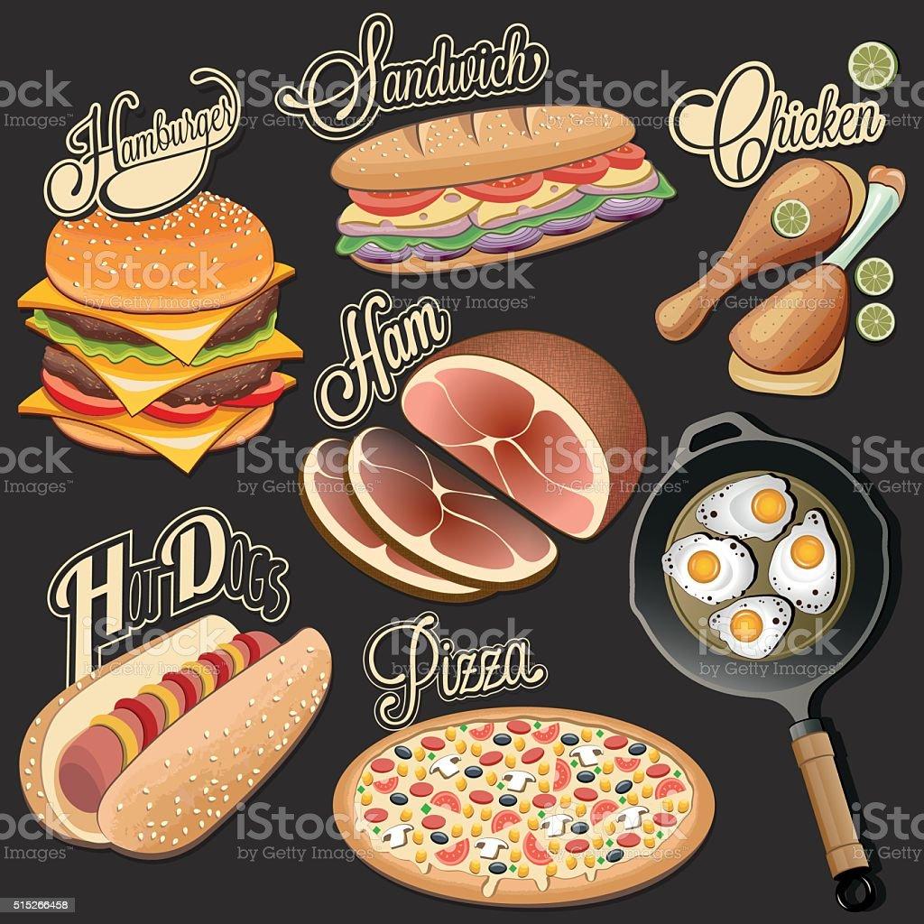 Fast food designs vector art illustration