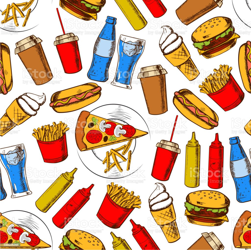 Fast food dinner with drinks and dessert seamless background with...
