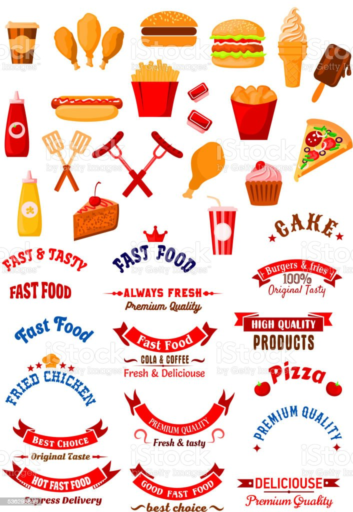 Fast food dishes and drinks icons for cafe design vector art illustration