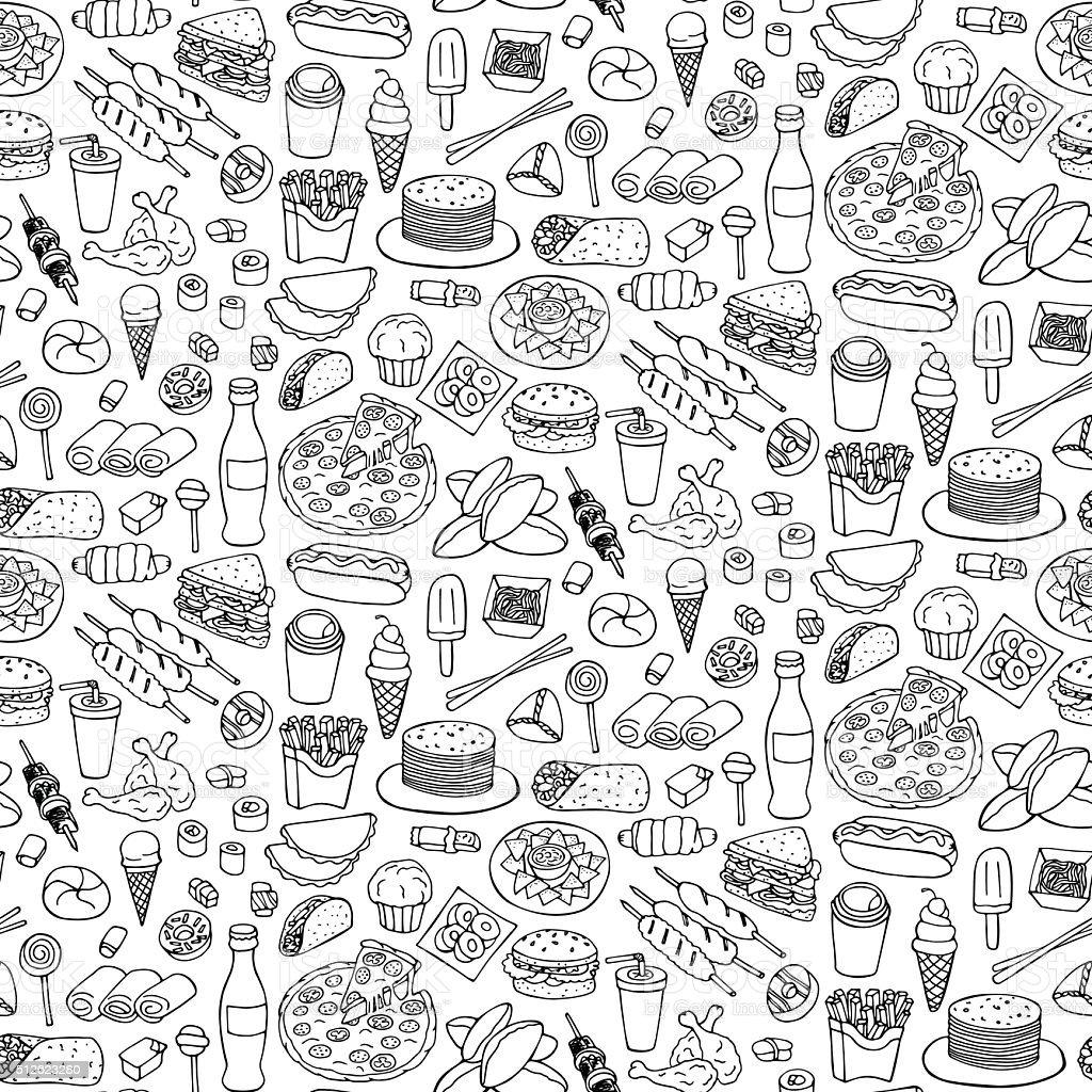 Fast Food Doodle Seamless Pattern vector art illustration
