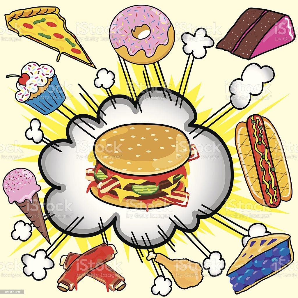 Fast Food Explosion! royalty-free stock vector art