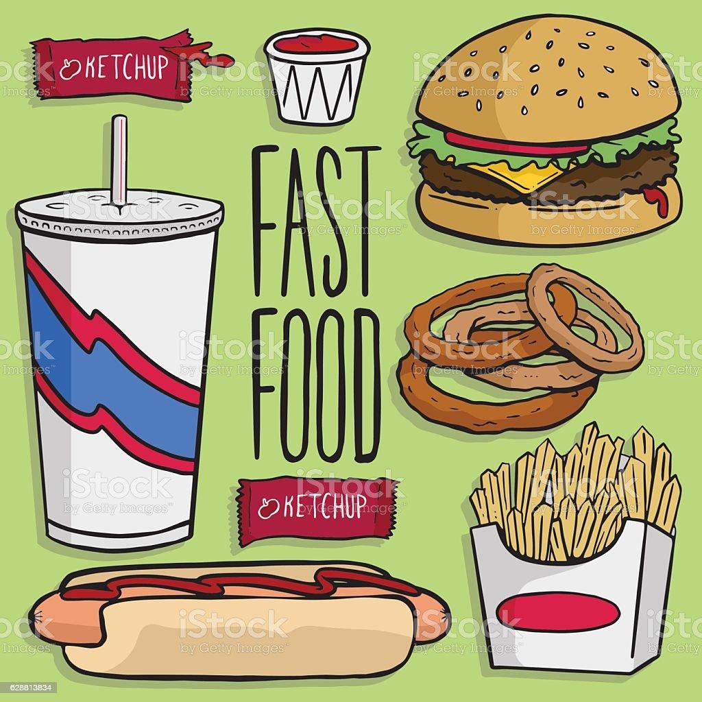 Fast Food Favorites vector art illustration