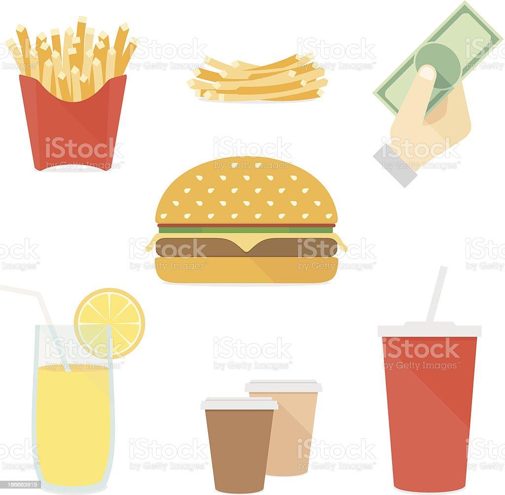 Fast food flat icons set vector art illustration