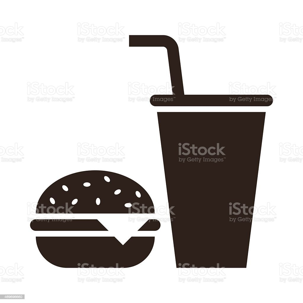 Fast food. Hamburger and drink icon vector art illustration