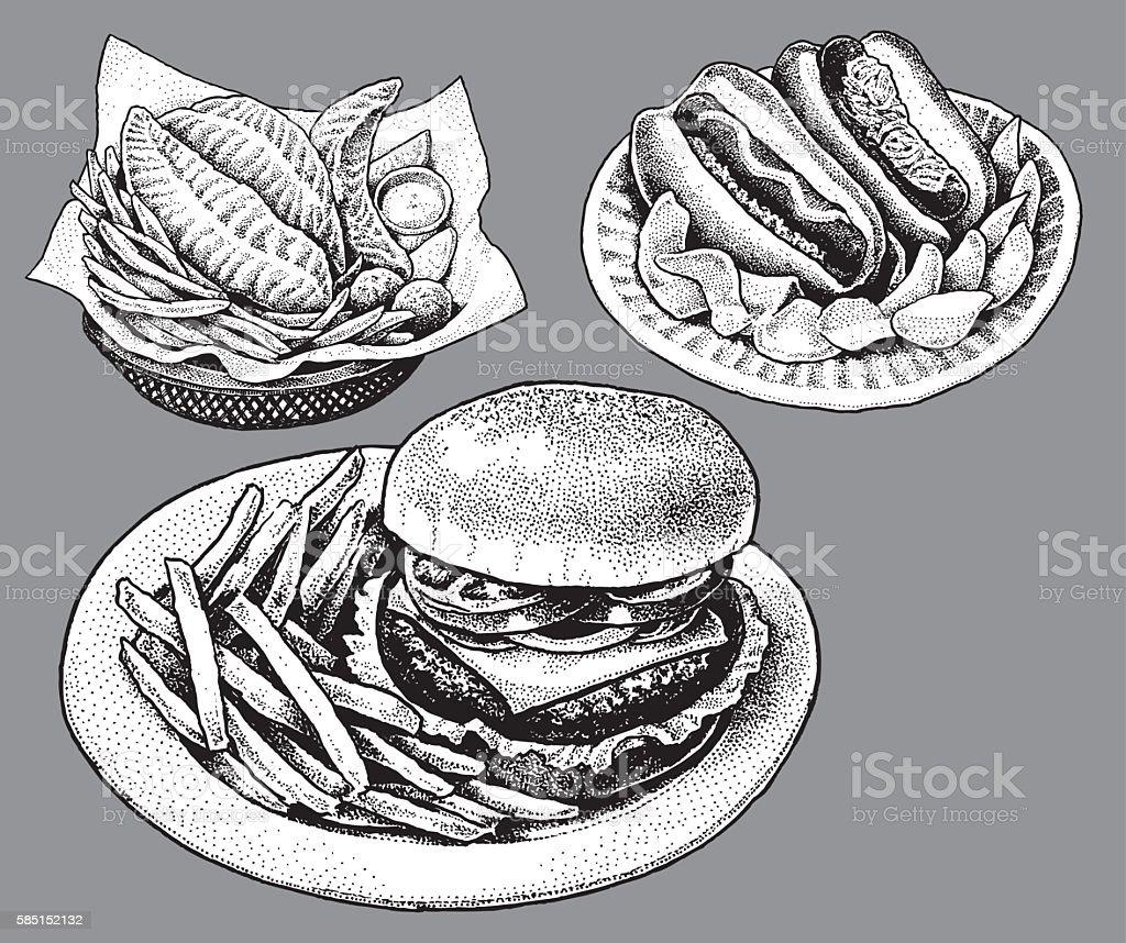 Fast Food, Hamburger, Hot Dog, Fish and Chips vector art illustration