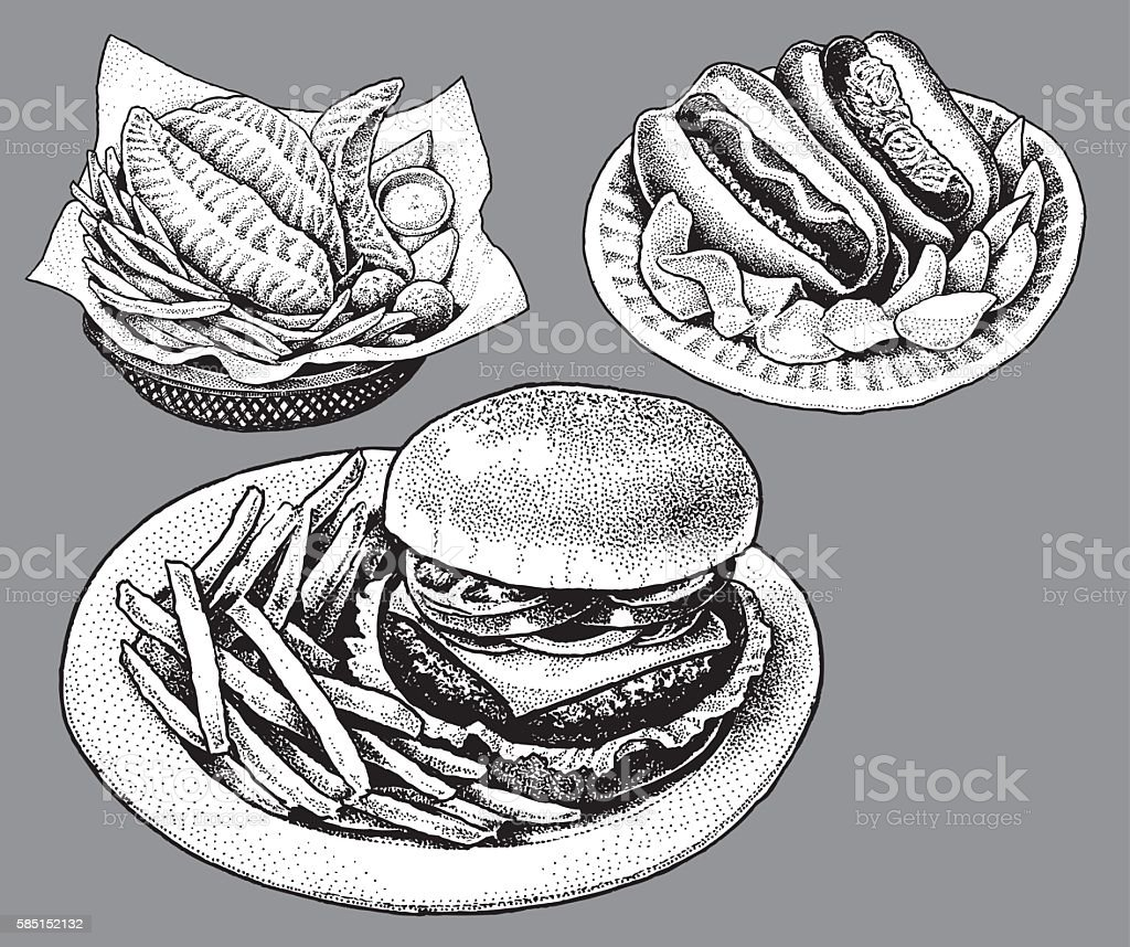 Fast Food, Hamburger, Hot Dog, Fish and Chips vector art illustration