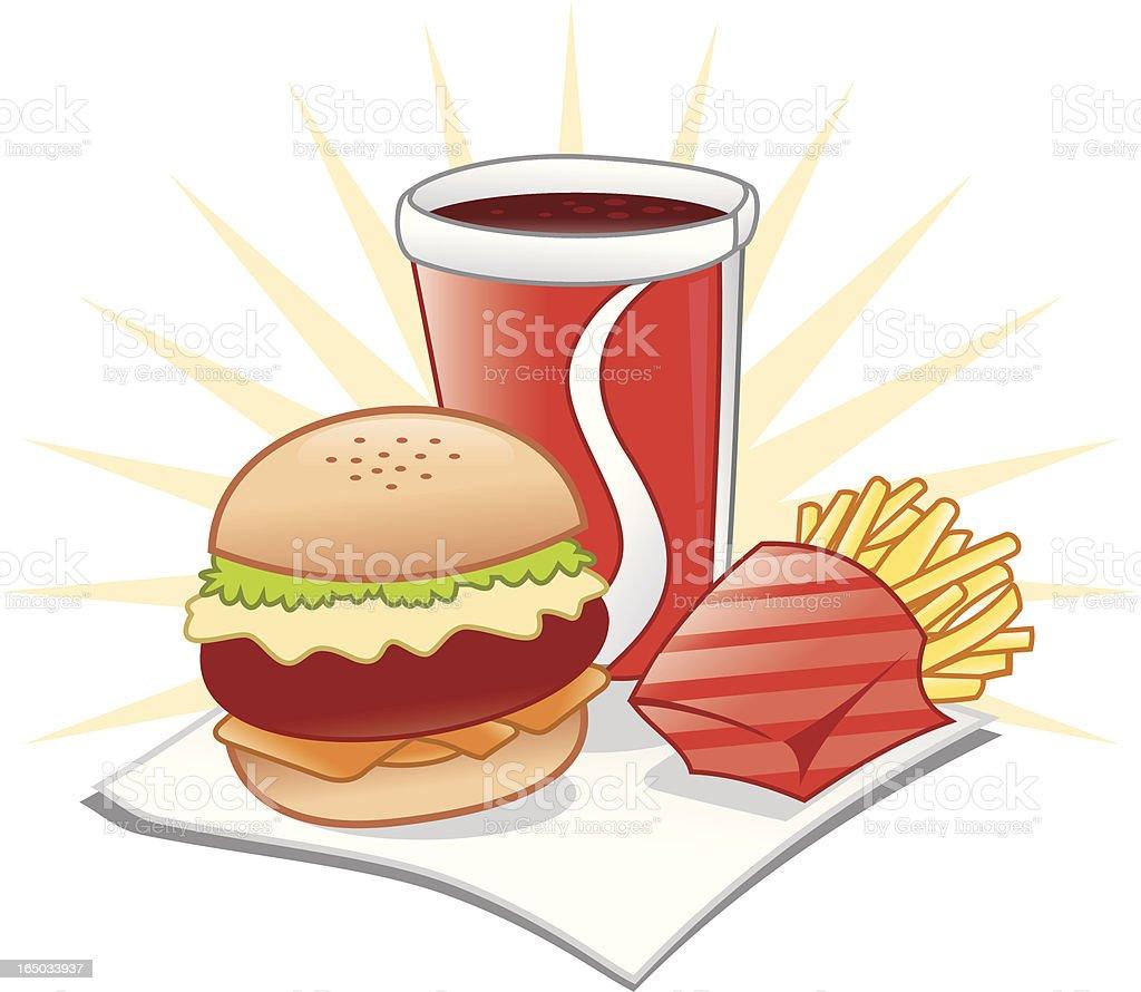 Comidas rápidas-hamburguer, papas fritas y cola - ilustración de arte vectorial
