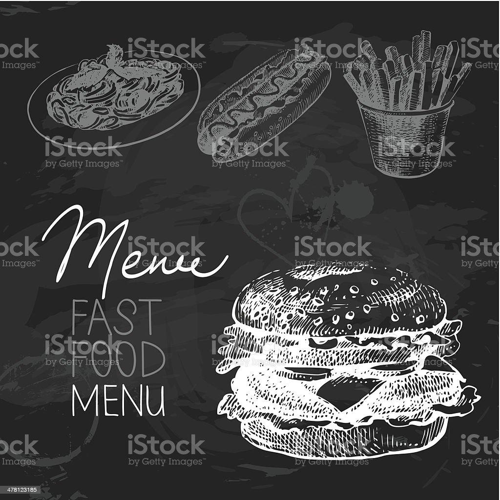 Fast food hand drawn chalkboard design set vector art illustration