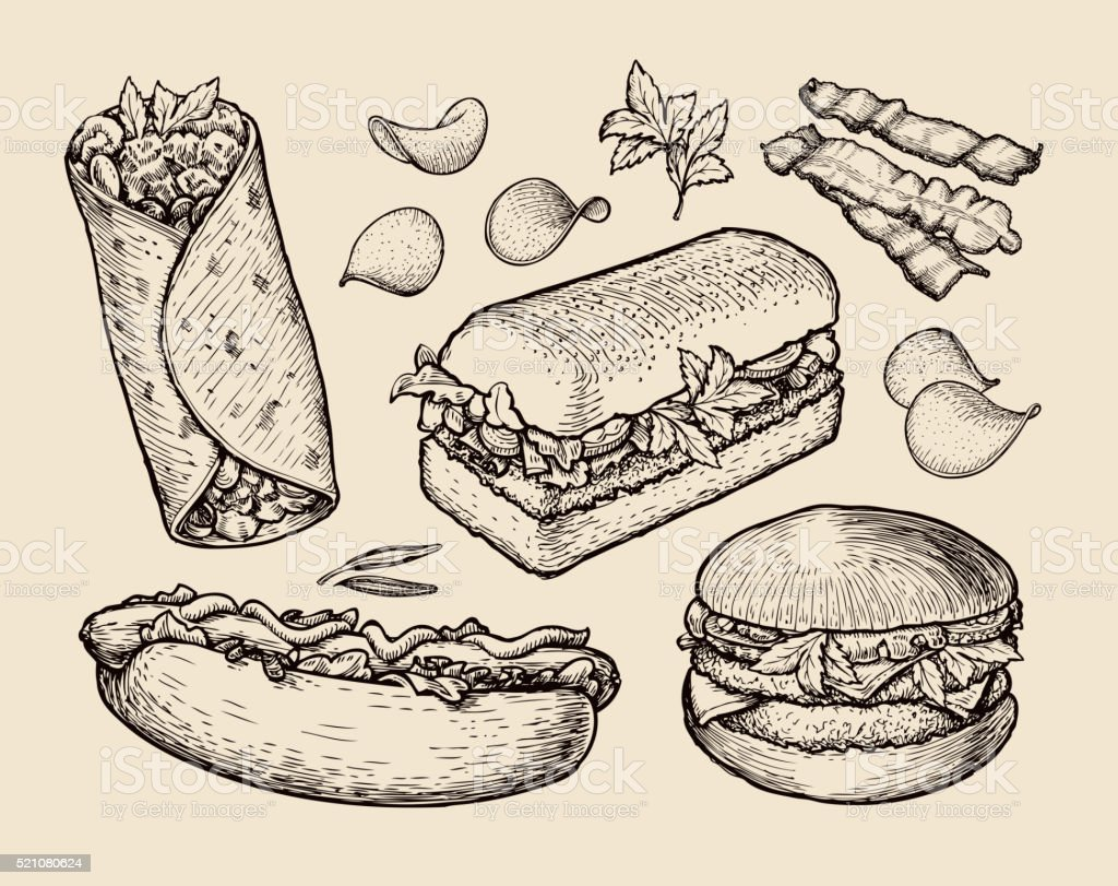 fast food. hand drawn cheeseburger, burritos, ham, bacon, sandwich, hot vector art illustration