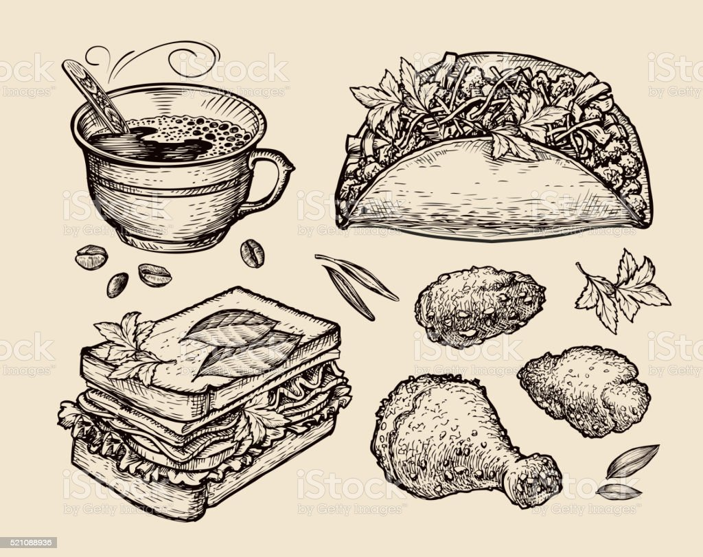 fast food. hand drawn coffee cup, tacos, sandwich, chicken in vector art illustration