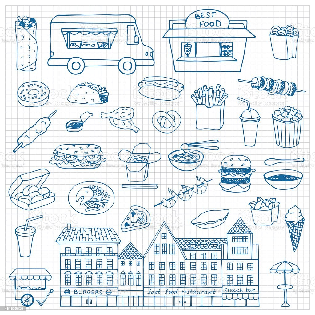 Fast Food hand drawn doodle set vector art illustration