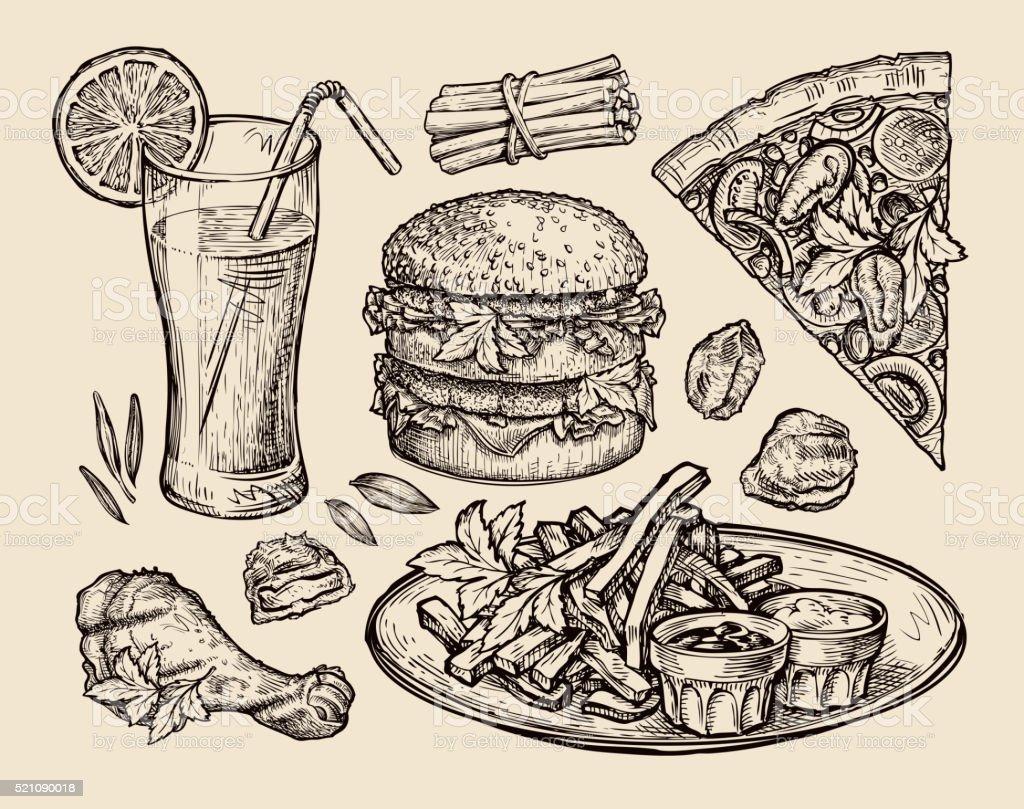 fast food. hand drawn pizza, hamburger, fries, burger, grilled chicken vector art illustration