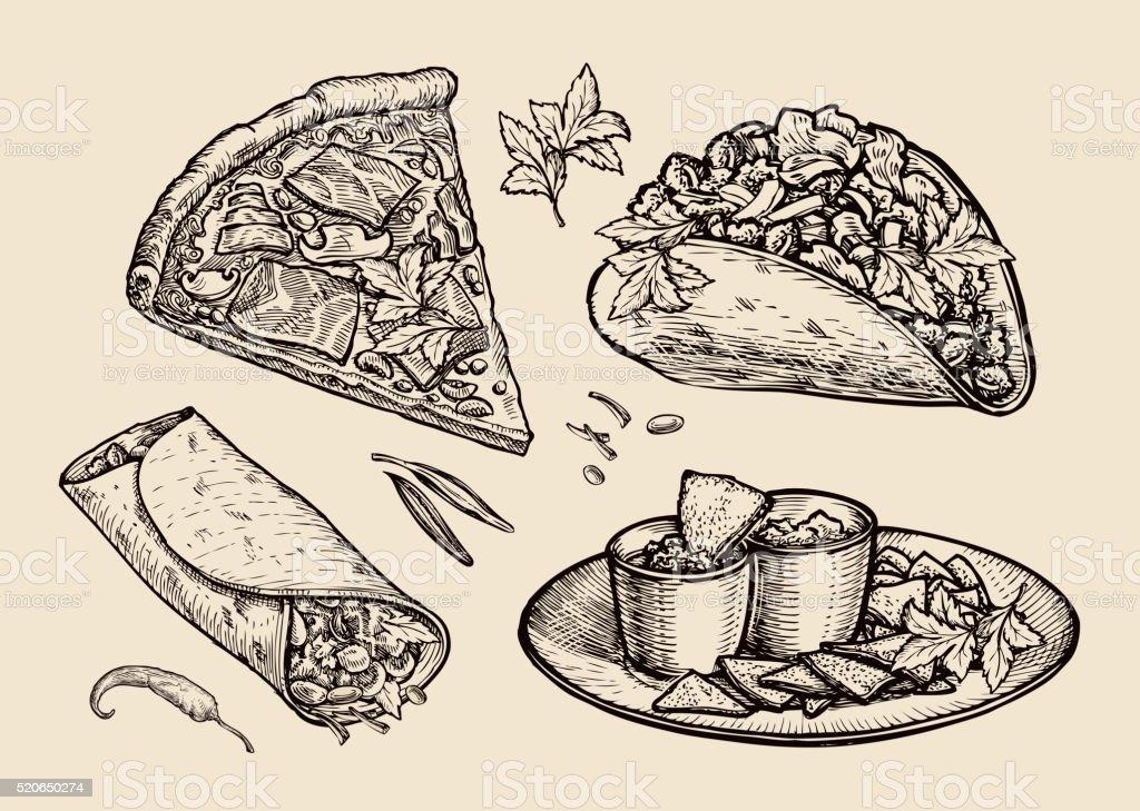 fast food. Hand drawn pizza, sandwich, tacos, nachos, burrito, shawarma vector art illustration