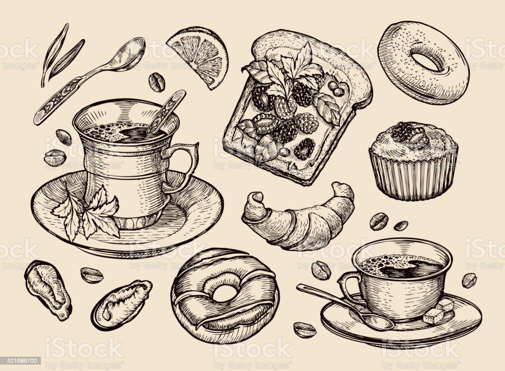 fast food. hand drawn sandwich, dessert, coffee cup, tea, donut vector art illustration