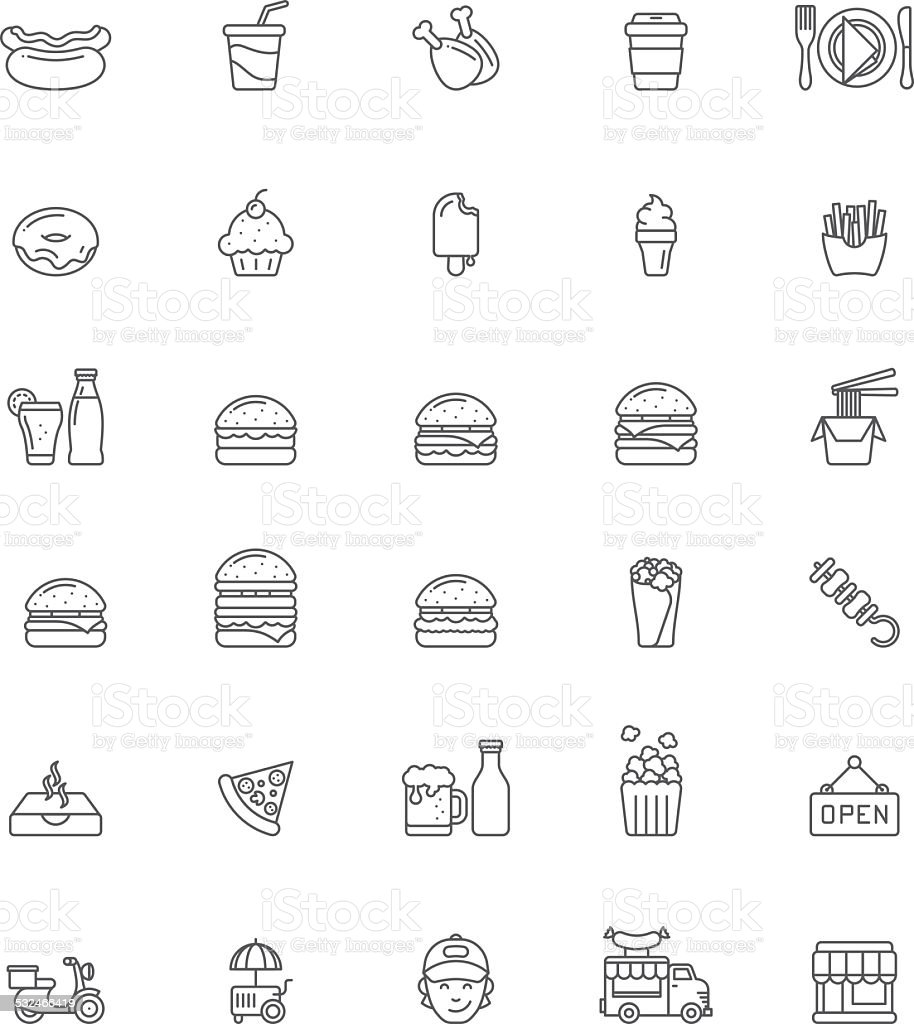 Fast food icon set vector art illustration