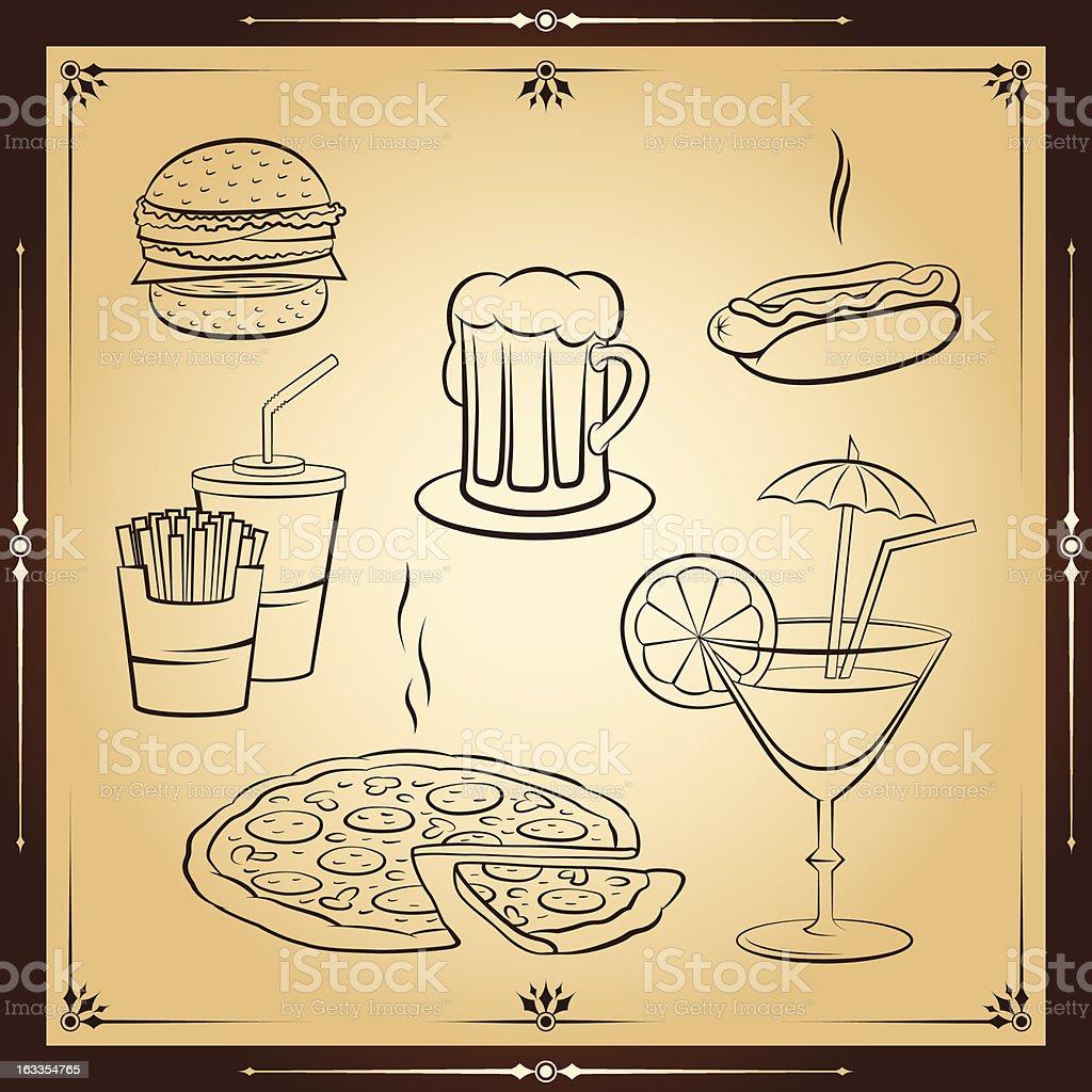 Fast food icon set. Vector illustration. royalty-free stock vector art
