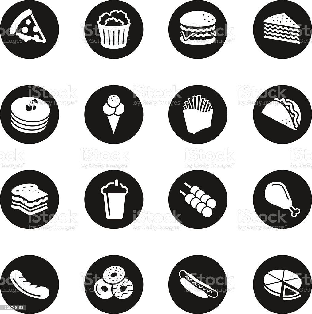 Fast Food Icons - Black Circle Series vector art illustration