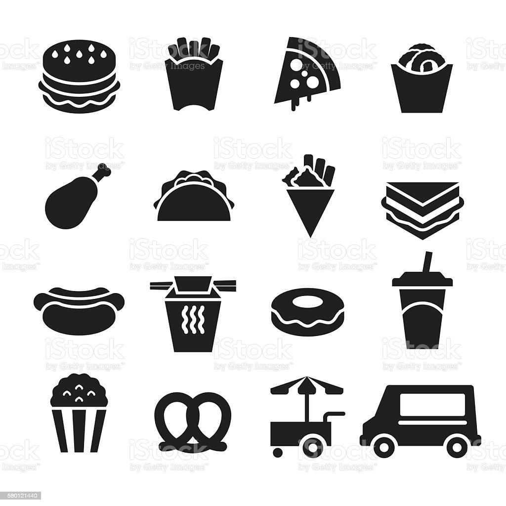 Fast Food Icons [Black Edition] vector art illustration