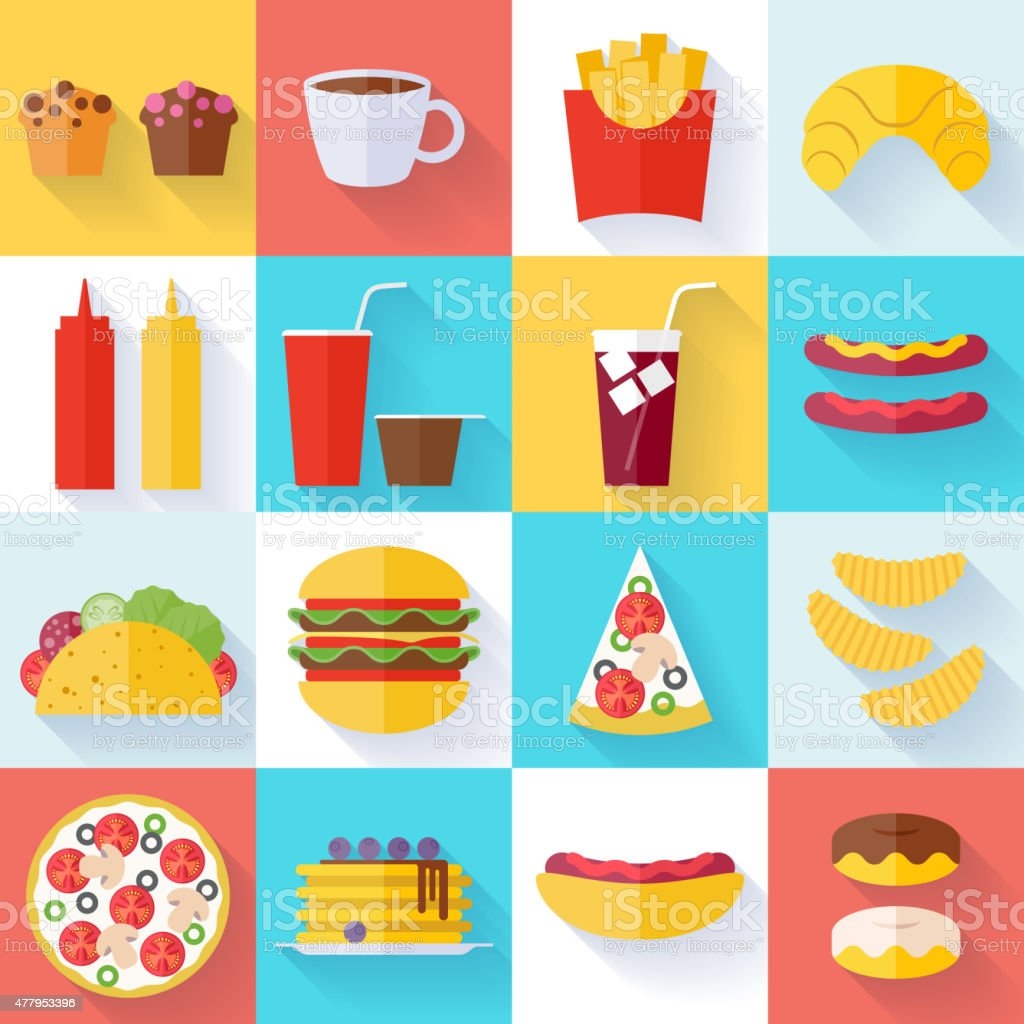 Fast food icons set - flat style vector art illustration