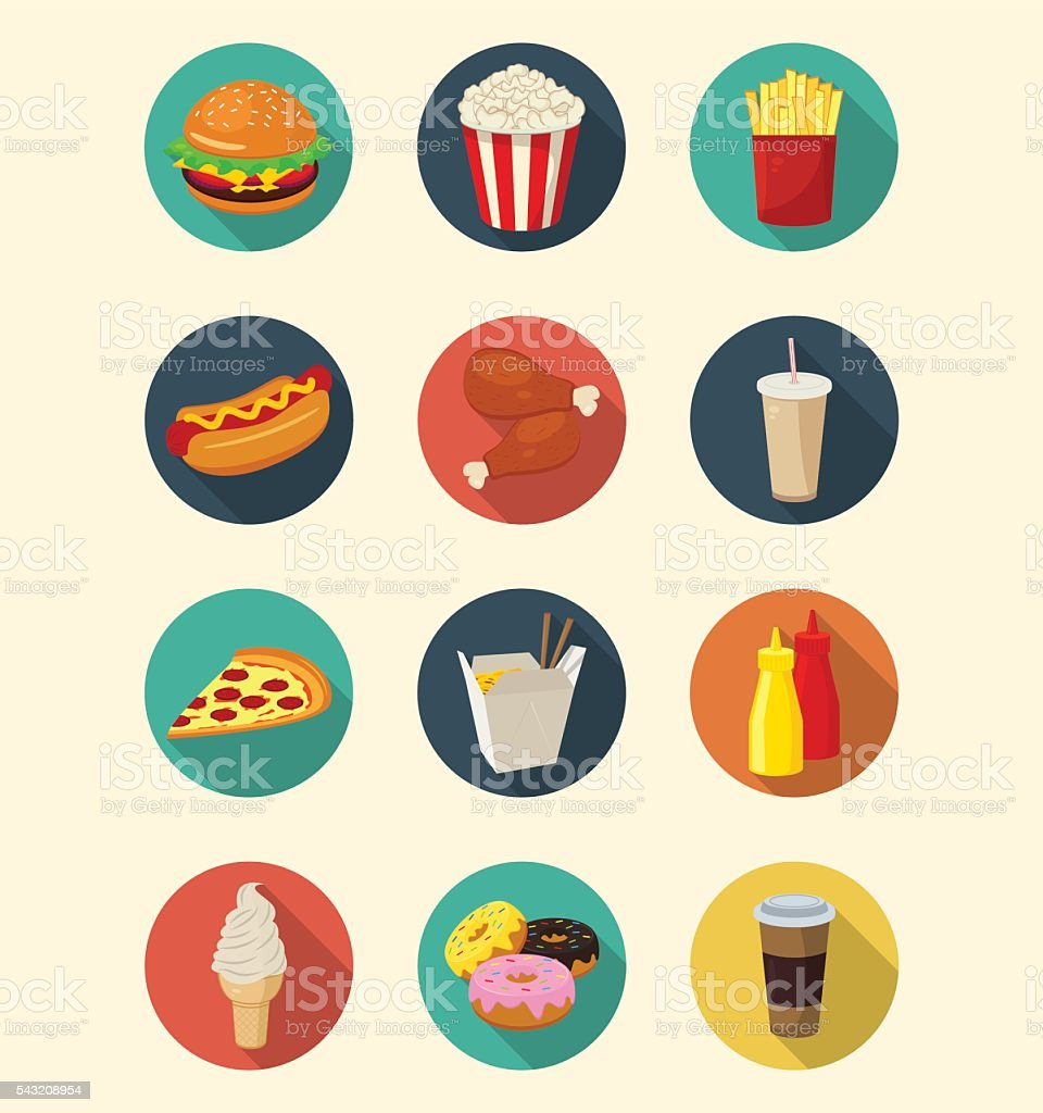 Fast food icons set modern flat design. Healthy eating concept. royalty-free stock vector art