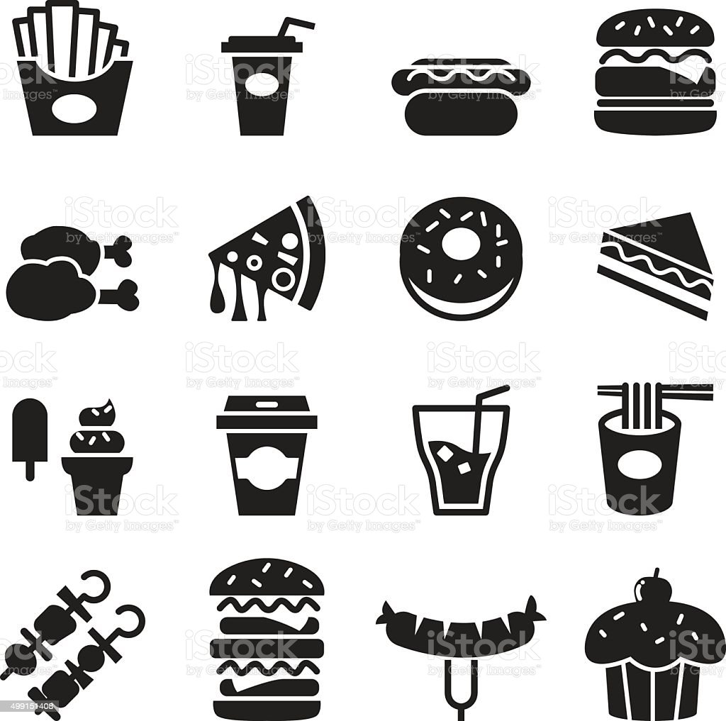 Fast food icons set vector art illustration