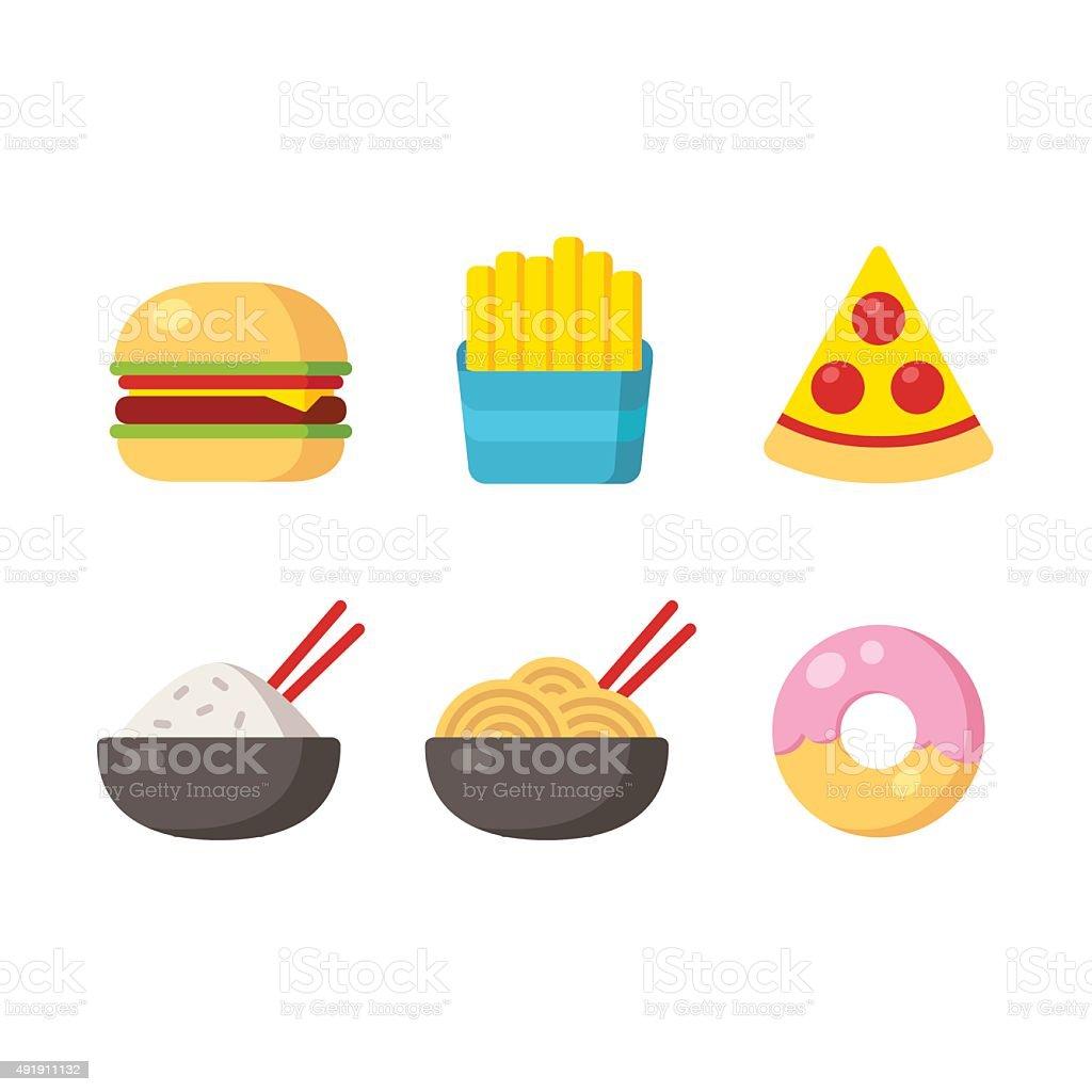 Fast food icons vector art illustration