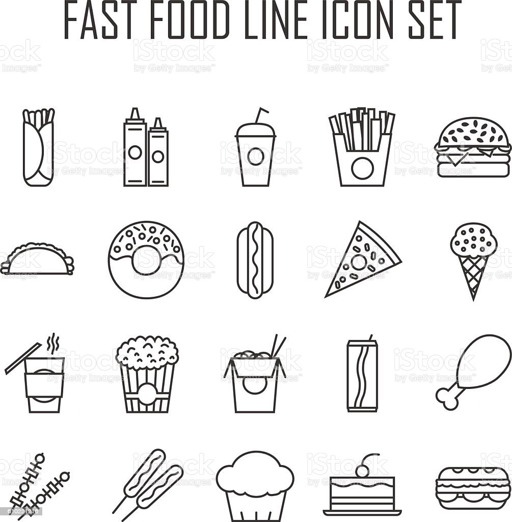 Fast Food Icons vector art illustration