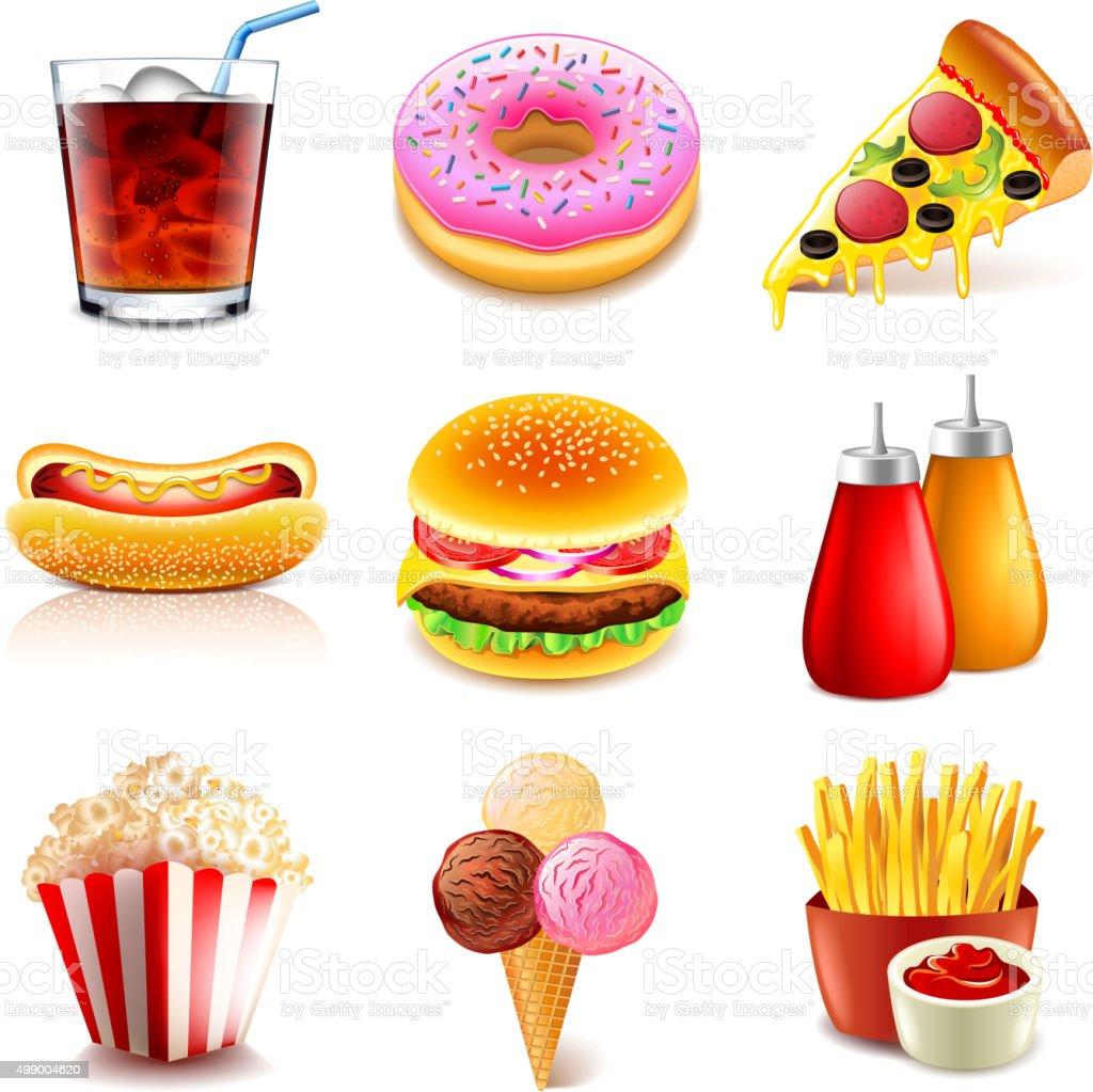Fast food icons vector set vector art illustration