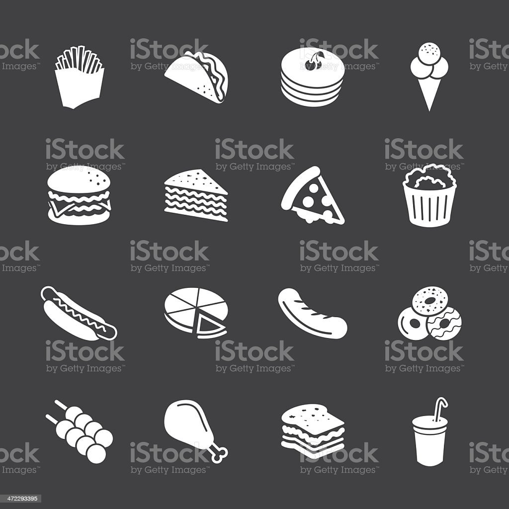Fast Food Icons - White Series | EPS10 vector art illustration