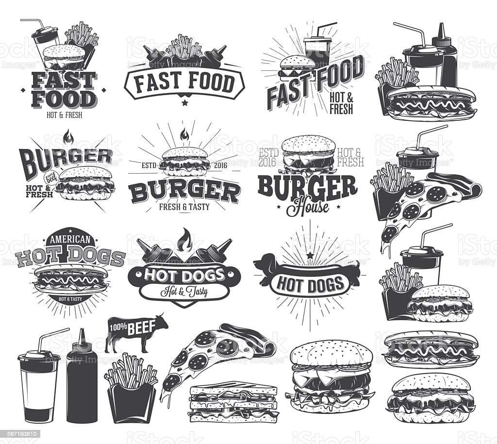 Fast Food Label, Logos and design elements vector art illustration