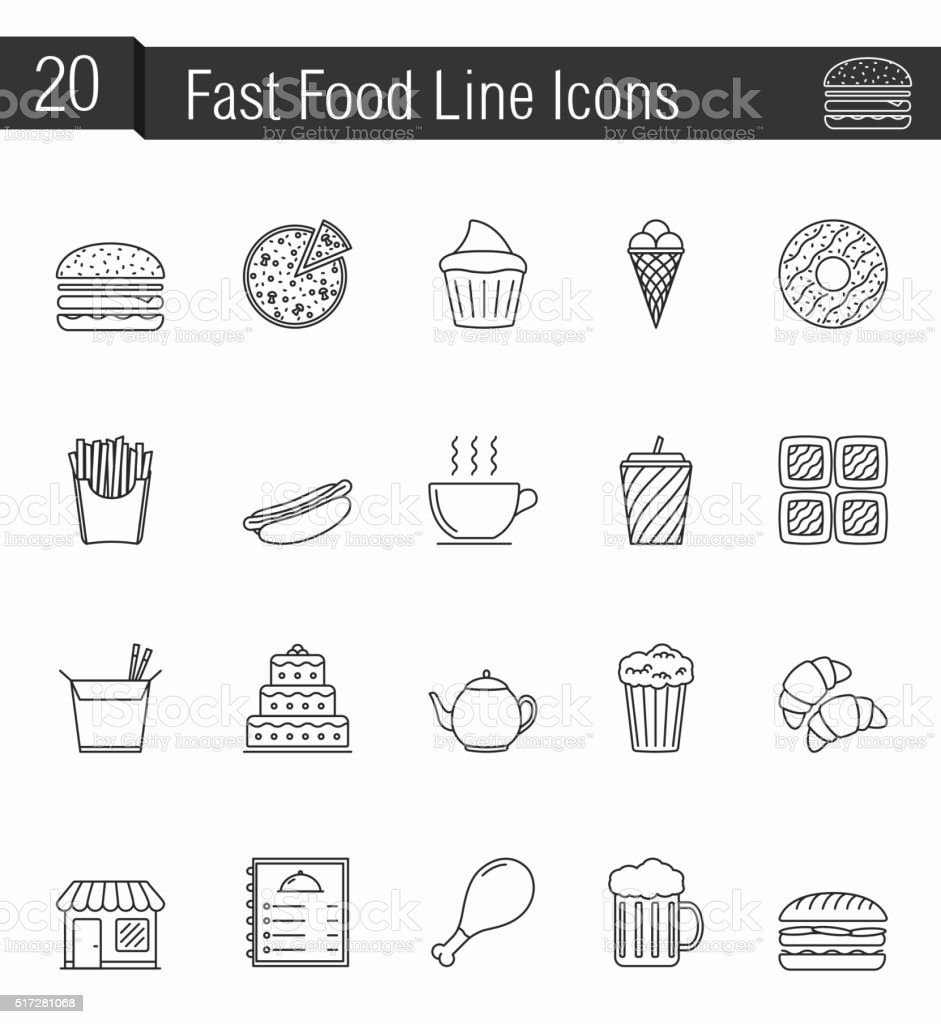 Fast Food Line Icons vector art illustration
