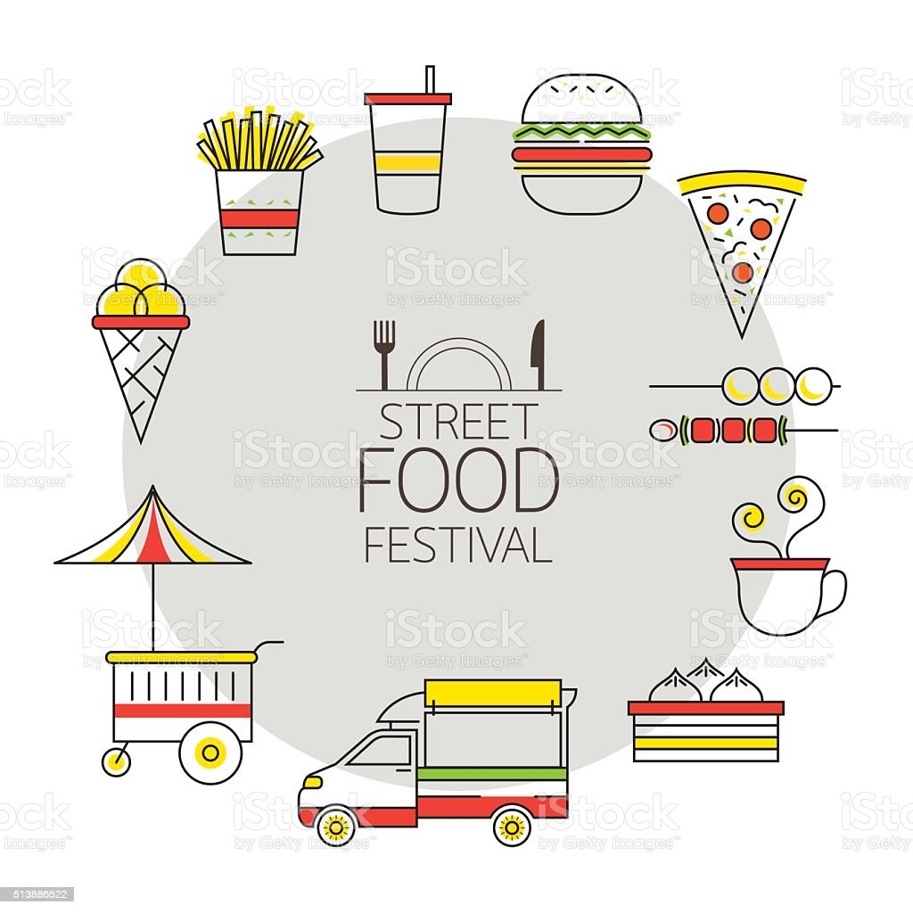 Fast Food Line with Color Icons Frame vector art illustration