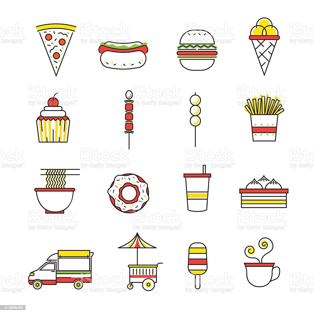 Fast Food Line with Color Icons Set vector art illustration